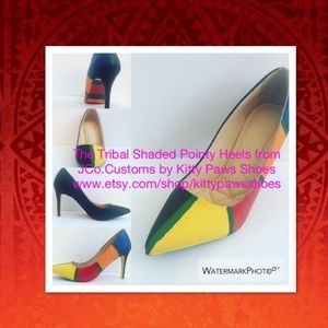 Women's Custom Tribal Multi-Colored Pointy Heels
